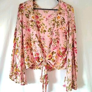 Boho Gypsy Pink Floral Bell Sleeve Tie-up Top
